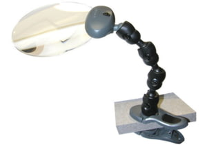 Carson Attach-A-Mag 2x LED Lighted Flexible Magnifier w/ Clip-On Base Stand - Batteries Included AM-20
