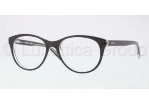 DKNY DY4637 Single Vision Prescription Eyeglasses 3131-5117 - Black Top on Transparent Frame, Demo Lens Lenses