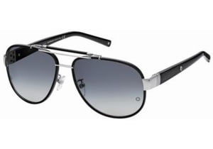 Montblanc MB367S Sunglasses - Shiny Palladium Frame Color, Gradient Blue Lens Color