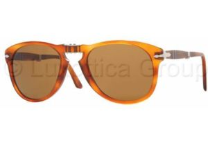 Persol PO0714 Bifocal Prescription Sunglasses PO0714-96-33-5221 - Lens Diameter: 52 mm, Frame Color: Light Havana