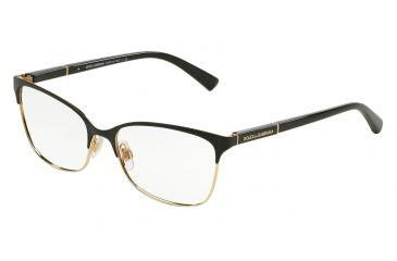 aa6cec6f4d1c Dolce&Gabbana LOGO PLAQUE DG1268 Single Vision Prescription Eyeglasses  025-54 - Black/Gold Frame