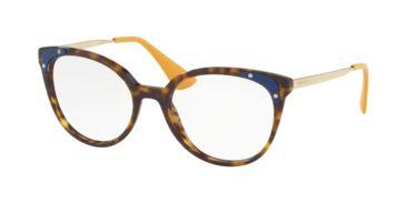 41bc348e8d Prada PR12UVF Progressive Prescription Eyeglasses 2AU1O1-53 - Havana Frame