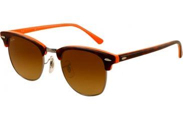 Ray-Ban Clubmaster Sunglasses RB3016 112685-5121 - Top Dark Havana on Orange Frame, Brown Gradient Lenses