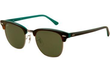 Ray-Ban Clubmaster Sunglasses RB3016 1127-4921 - Top Shiny Havana Frame, Gray Green Lenses