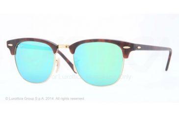 Ray-Ban Clubmaster Sunglasses RB3016 114519-51 - Sand Havana/gold Frame, Grey Mirror Green Lenses
