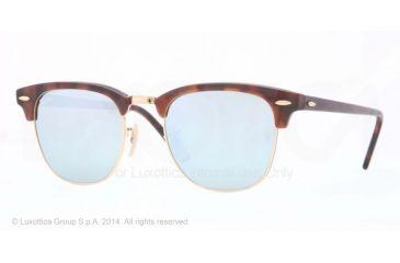 Ray-Ban Clubmaster Sunglasses RB3016 114530-49 - Sand Havana/gold Frame, Light Green Mirror Silver Lenses
