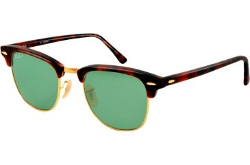Ray-Ban Clubmaster Sunglasses RB3016 1145O5-49 - Matte Red Havana Frame, polar green Lenses
