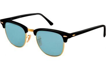 Ray-Ban Clubmaster Sunglasses RB3016 901S3R-49 - Matte Black Frame, polar sky blue Lenses